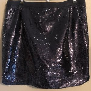 Blue and silver sequins mini skirt
